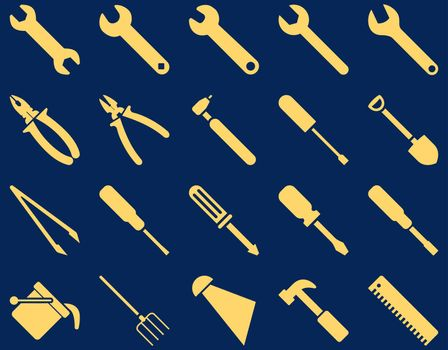 Equipment and Tools Icons. Glyph set style is flat images, yellow color, isolated on a blue background.