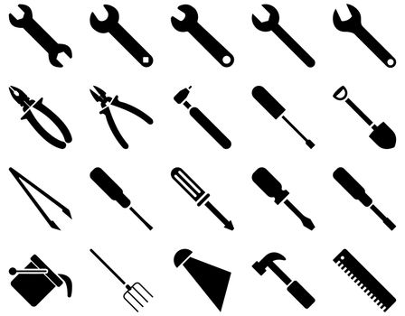 Equipment and Tools Icons. Glyph set style is flat images, black color, isolated on a white background.