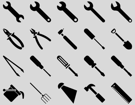 Equipment and Tools Icons. Glyph set style is flat images, black color, isolated on a light gray background.