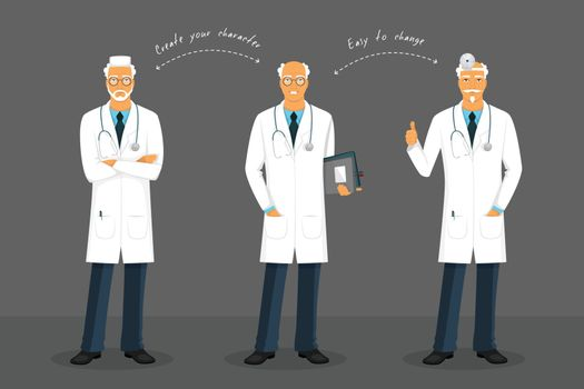 Vector illustration of Old doctor in various poses