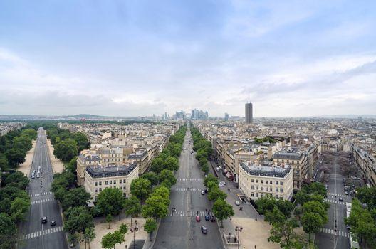 Champs Elysees to La Defense from the Arc de Triomphe in Paris