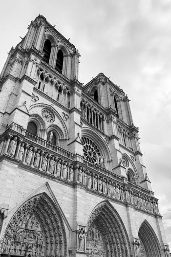 Notre Dame Cathedral in Paris (Black and White)