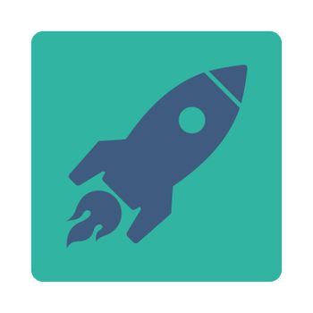 Rocket Launch icon. Glyph style is cobalt and cyan colors, flat square rounded button, white background.