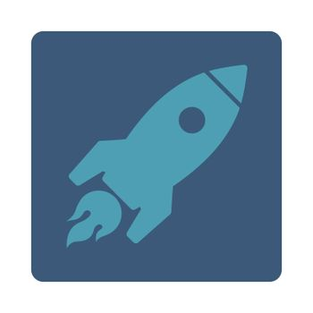 Rocket Launch icon. Glyph style is cyan and blue colors, flat square rounded button, white background.