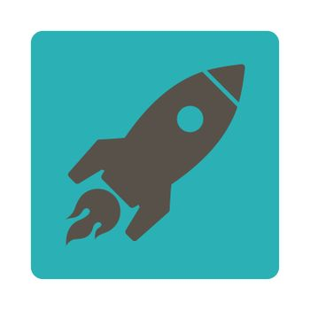 Rocket Launch icon. Glyph style is grey and cyan colors, flat square rounded button, white background.