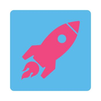 Rocket Launch icon. Glyph style is pink and blue colors, flat square rounded button, white background.