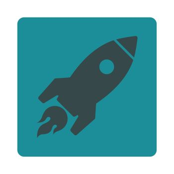 Rocket Launch icon. Glyph style is soft blue colors, flat square rounded button, white background.