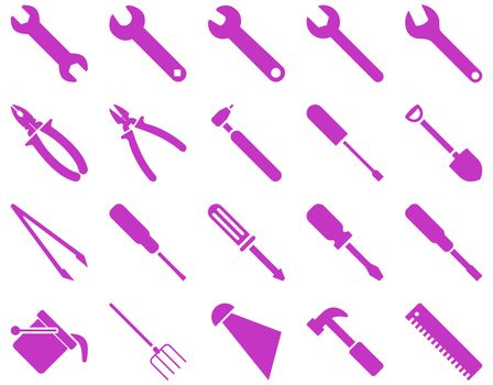 Equipment and Tools Icons. Glyph set style is flat images, violet color, isolated on a white background.