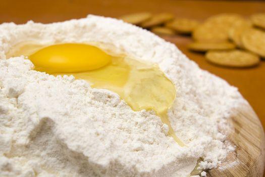 Chicken egg in the flour