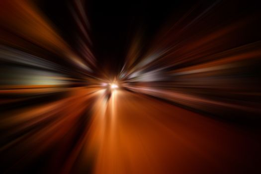 speed motion blur on road at night