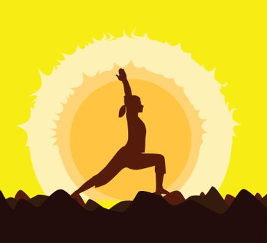 Yoga poses performed by a young woman in silhouette set against a yellow sunset.