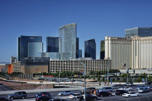 Las Vegas, Nevada, USA - September 19, 2011: Monte Carlo luxury resourt and casino and Hotel Cosmopolitan in Las Vegas, located on 770 Las Vegas Boulevard.