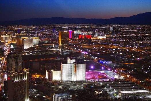 Las Vegas, Nevada, USA - September 20, 2011: Aerial panoramic view of Las Vegas at dusk, looking south toward the strip from downtown.