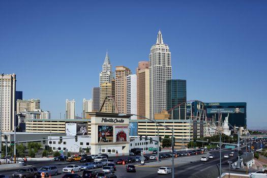 Las Vegas, Nevada, USA - September 19, 2011: Monte Carlo luxury resourt and casino and MGM Grand in Las Vegas, located on 770 Las Vegas Boulevard.