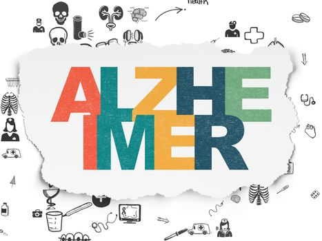 Health concept: Alzheimer on Torn Paper background