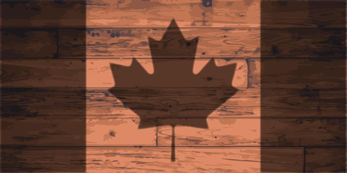 Canada flag outline brand on wooden board