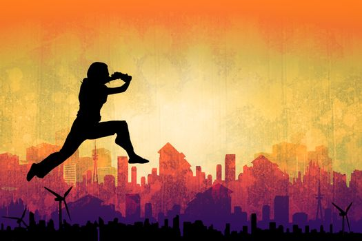 Composite image of businesswoman leaping