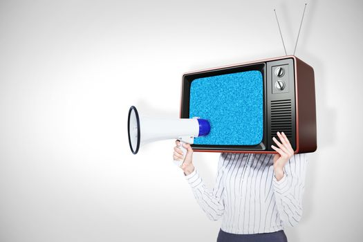 Composite image of businesswoman with box over head and holding a megaphone
