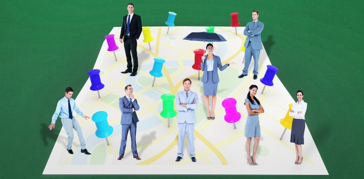 Composite image of business team