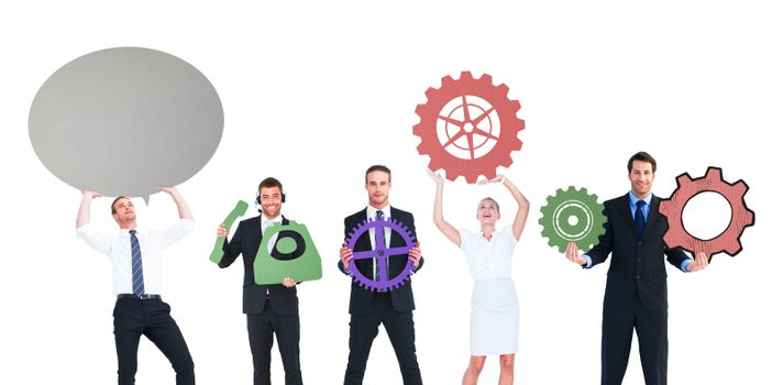 Business people with coloured icons