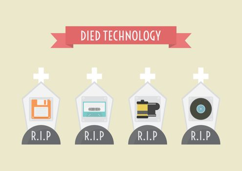 died technology, floppy disk, cassett tape, film, record