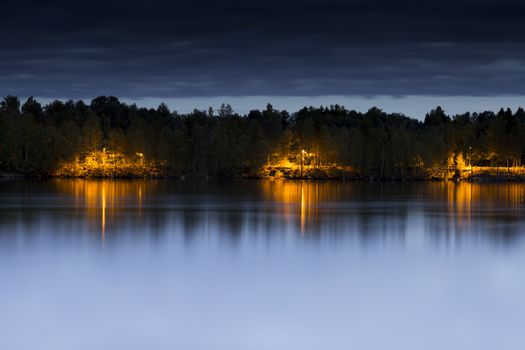 Street Light on Path by River in Umea, Sweden