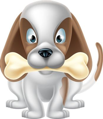 An illustration of a cartoon Puppy Dog holding a bone