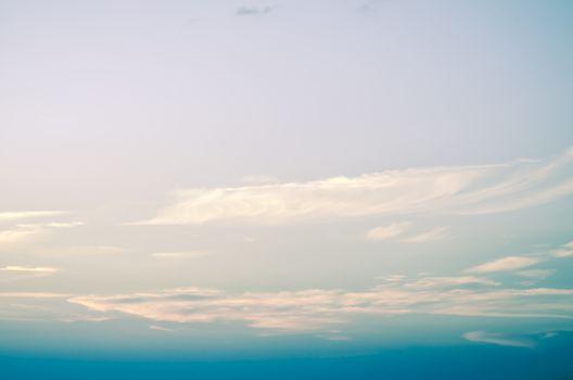 blue sky with sun set blurry vintage style