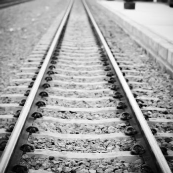 railway on country road in Thailand black and white color tone s
