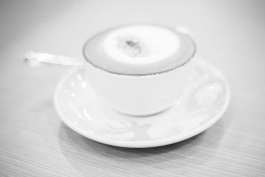 hot cappuccino black and white color tone style