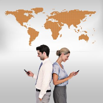 Composite image of business people using smartphone back to back