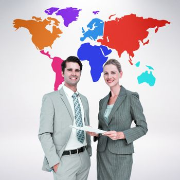 Composite image of business people looking at camera