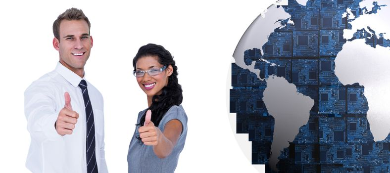 Composite image of happy business people looking at camera with thumbs up