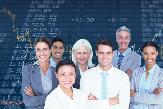 Composite image of business people looking at camera with arms crossed