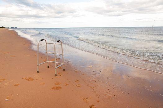 walker on sand beach