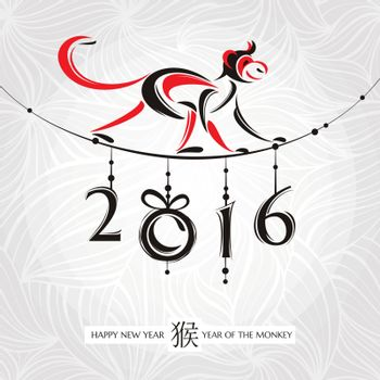 Chinese new year greeting card with monkey vector illustration