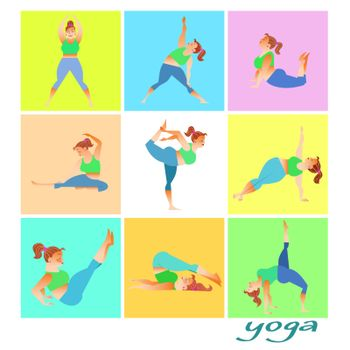 Set yoga fat woman