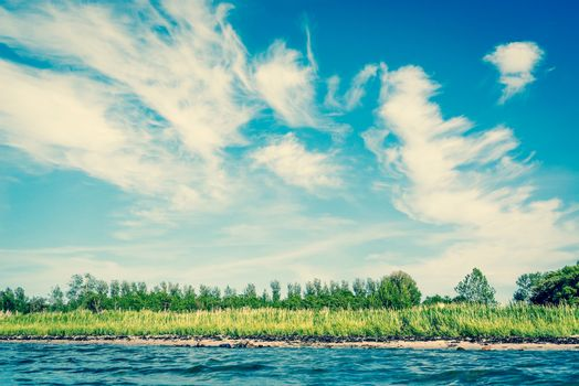 Ocean shore in Scandinavia in the summer