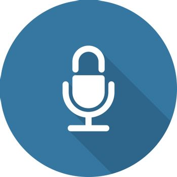 Microphone Icon. Flat Design. Long Shadow. Isolated.