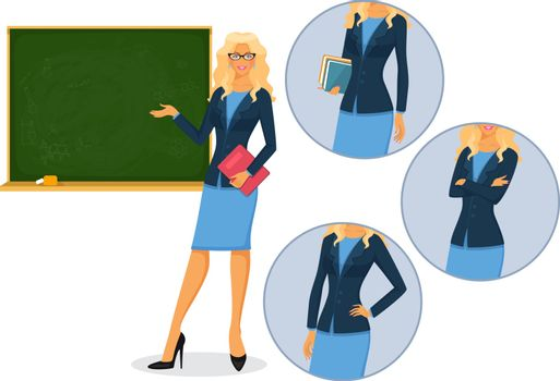 Vector illustration of Female teacher with blackboard