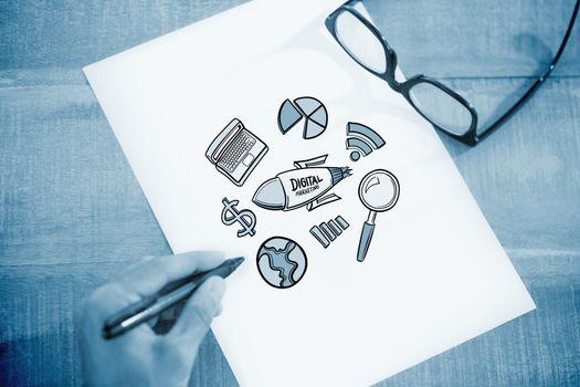 Composite image of digital marketing doodle