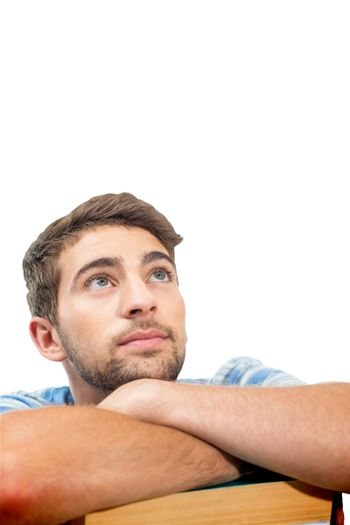 Composite image of student looking up