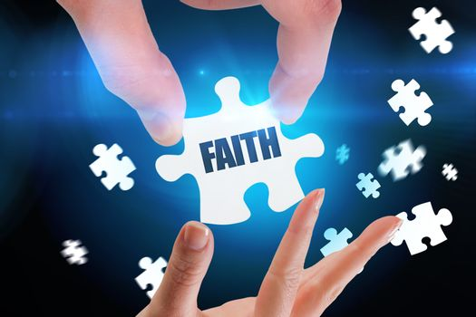 Faith against blue background with vignette