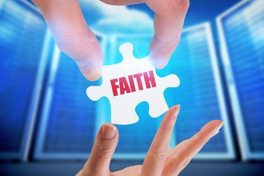 Faith against composite image of server room