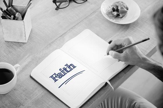 Faith against man writing notes on diary