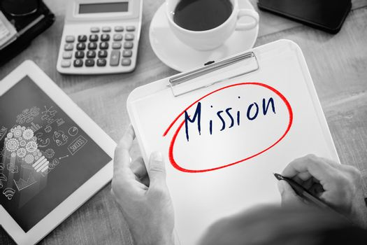 Mission against business graphics