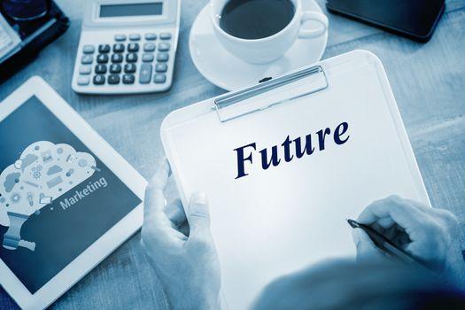 Future against digital marketing graphic