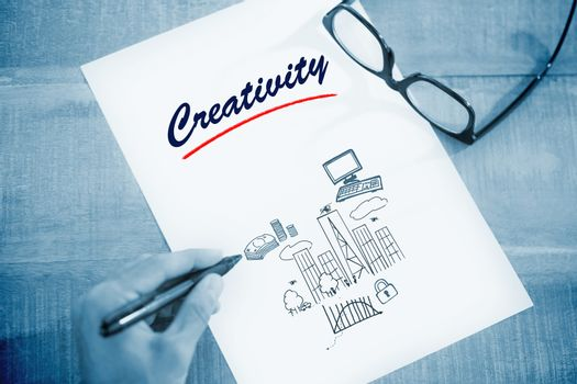 Creativity  against business and cityscape