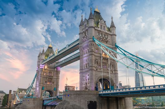 The Tower Bridge at dusk as seen from St. Katharine Docks - Lond