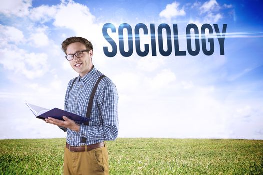 Sociology against serene landscape